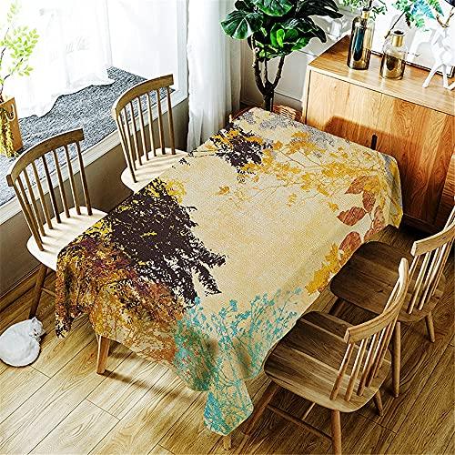 XXDD Mantel Impermeable con Estampado de Hojas de árbol de Bosque de Acuarela decoración del hogar Mantel Rectangular Lavable a Prueba de Polvo A11 140x200cm