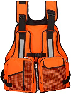 Isafish Fishing Life Jacket Adjustable Outdoor Safety Vest with Multi-Pockets and Reflective Stripe for Sailing Kayak Fly Fishing Boating Floating One Size