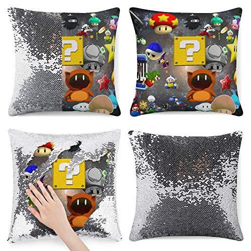 Super M-Ario Bros Magic - Funda de almohada reversible para cambiar de color, 40,6 x 40,6 cm