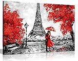 """Reproduktion eines Ölgemäldes """"Roter Regenschirm vor"""
