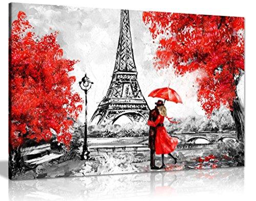 Pintura al óleo de París Reproducción de la Torre Eiffel Sombrilla Roja Lienzo de Pared (24 x 16)