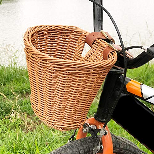 learnarmy Kids Front Basket Hand Woven Bike With Leather Straps Bicycle Basket Bike Basket, 21x16x16cm