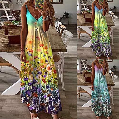Dasongff Boho - Vestido de verano para mujer, sin mangas, sexy, vestido de fiesta con bolsillos, informal, vestido de tirantes, cómodo, elegante escote en V