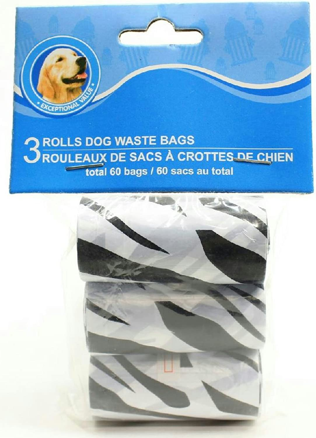 Disposable Pet Waste Bags (Black and White Zebra Print)