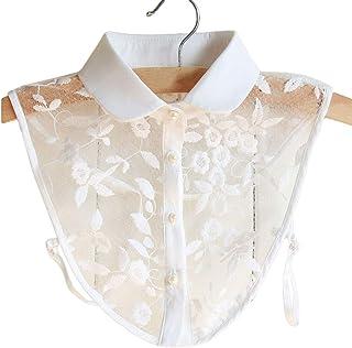 YiyiLai レース 刺繍 付け襟 レディース 角襟 ブラウス シャツ 偽襟 オシャレ シースルー