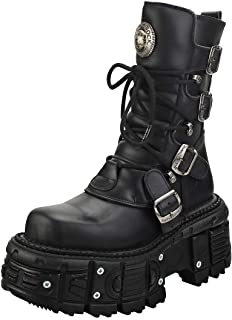 New Rock New Punk and Rock Mixte Adulte Bottes Plate-Forme