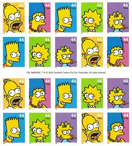 The Simpsons Mint Sheet 20 USA .44 Cent Postage Stamps MNH by USPS