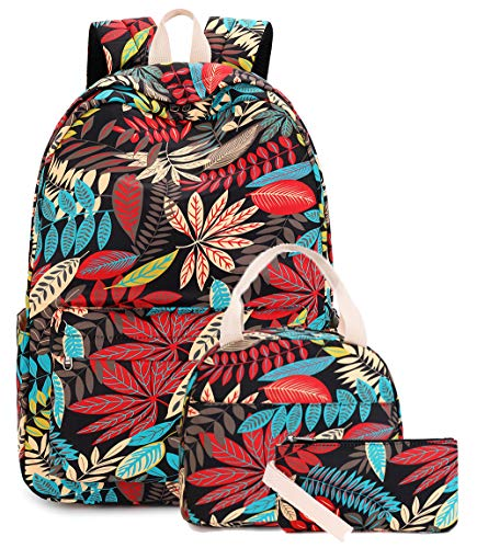 Bookbag Girls School Backpack Cute Floral Schoolbag with Insulation Lunch tote and Pencil Pouch Shoulder Bag Daypack for Teen Girls Boys Casual Backpack