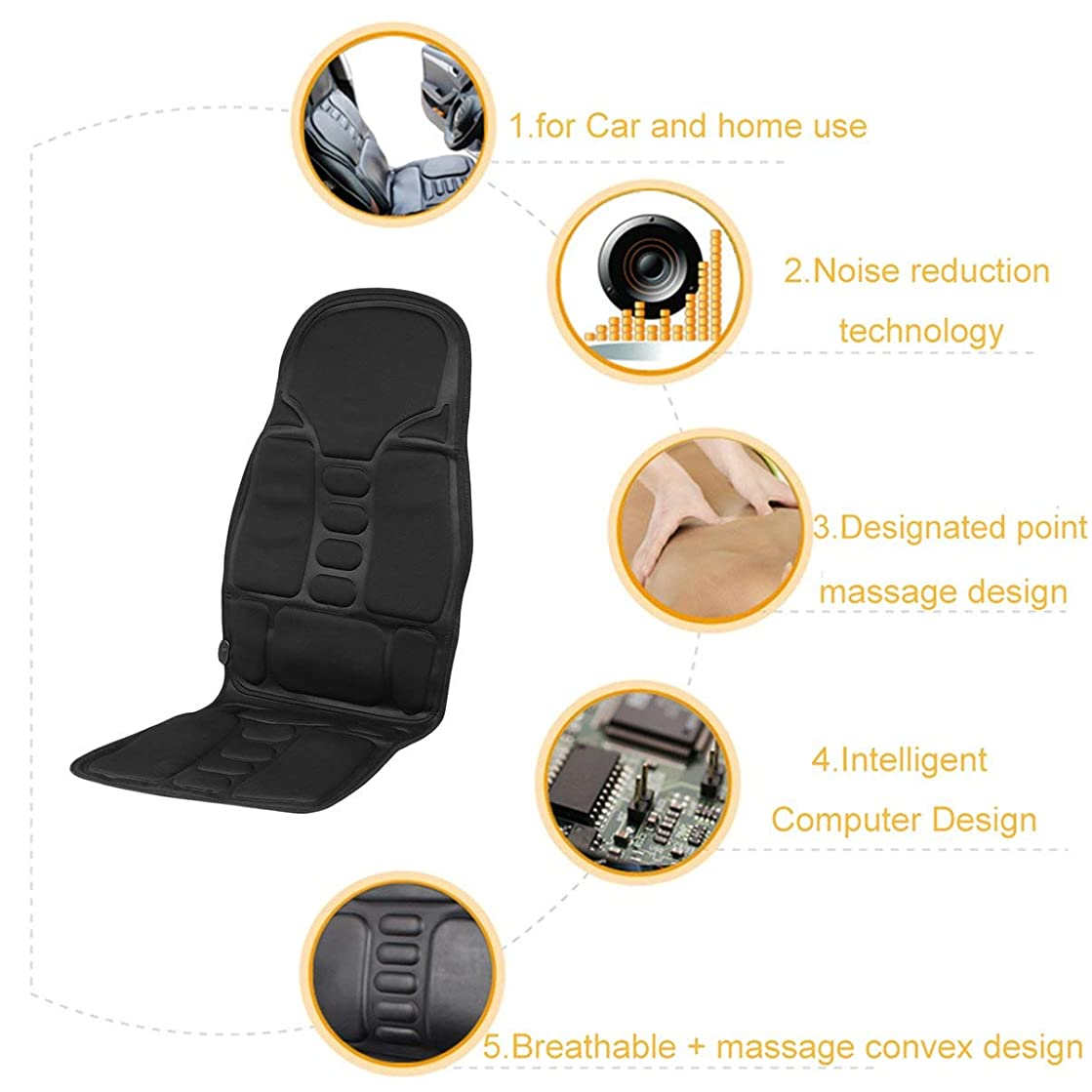 酸化する盲信時折Professional Car Household Office Full Body Massage Cushion Lumbar Heat Vibration Neck Back Massage Cushion Seat