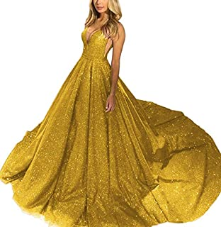 JONLYC 2019 Women's A-line Deep V-Neck Sequin Long Evening Dresses Prom Gown
