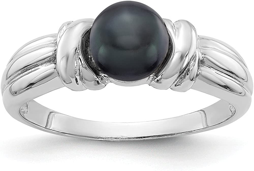 Solid 14k White Gold 6mm Black Ring Cultured Max 79% Ranking TOP7 OFF Freshwater Ba Pearl