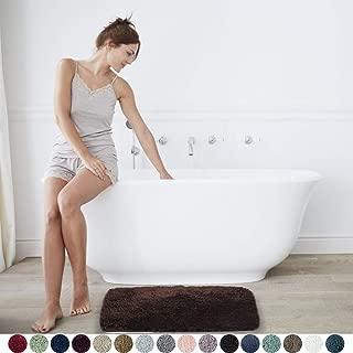 Walensee Large Bathroom Rug (24 x 40, Brown Basket) Extra Soft and Absorbent Shaggy Bathroom Mat Machine Washable Microfiber Bath Mat for Bathroom, Non Slip Bath Mat, Luxury Bathroom Floor Mats
