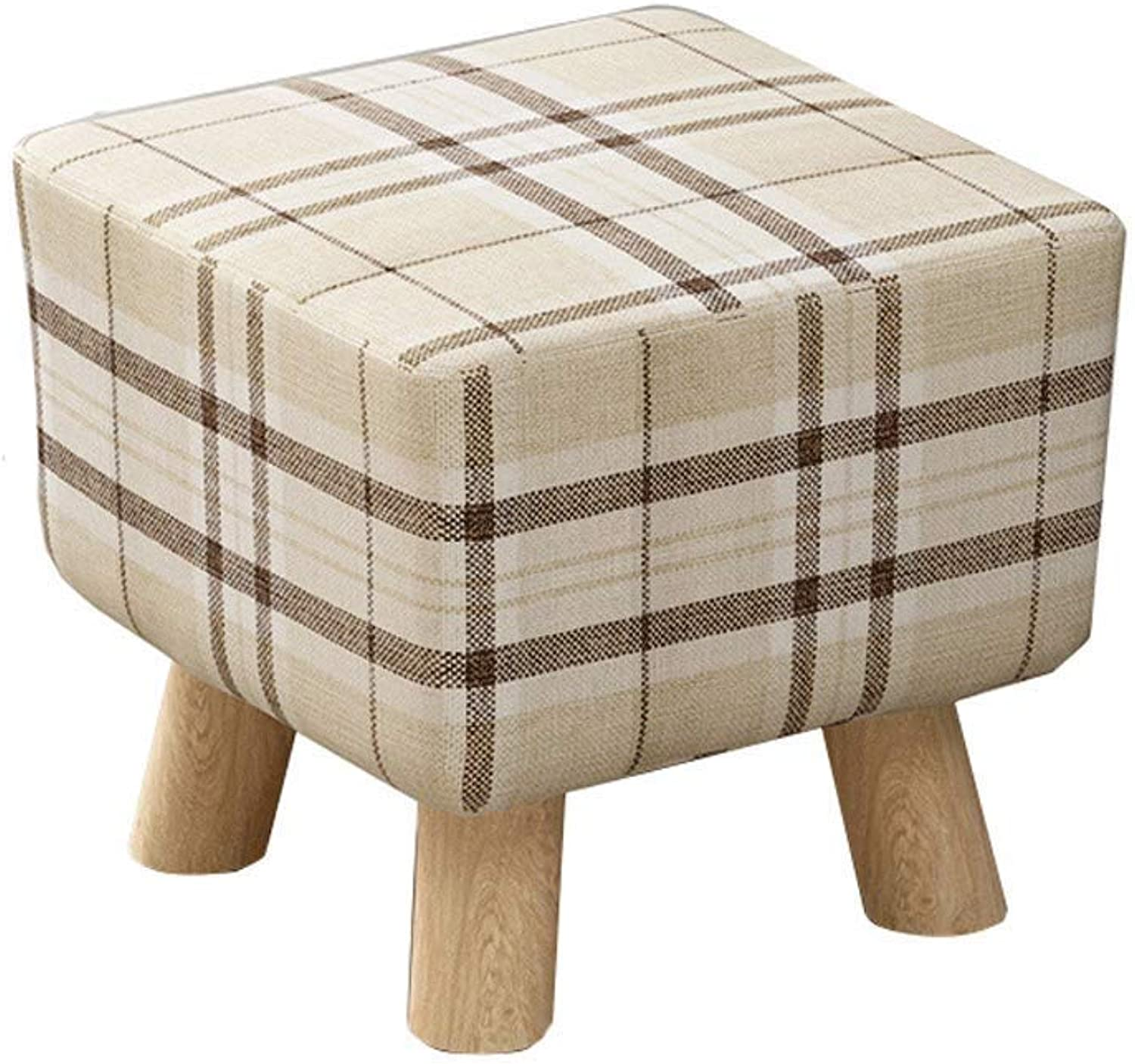 ZOUQILAI Stools Square Wooden Upholstered Footstool, Square Pouffe Single Seater and Removable Linen Cover (color   D)