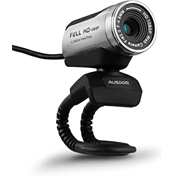 AUSDOM HD Webcam 1080P with Microphone, USB Desktop Laptop Web Camera 12.0MP, Auto Exposure, Digital Zoom, Pro Streaming Computer Camera for Laptop/Desktop/Skype/FaceTime/YouTube/Yahoo Messenger