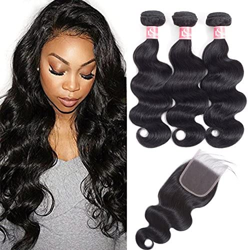 LSHAIR Brazilian Body Wave 3 Bundle with Closure 22 20 18 with 16 100 Unprocessed Brazilian product image