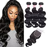 LS Brazilian Body Wave Bundles with Closure (14 16 18 with 12 Free Part) 10a Unprocessed 100% Human Hair Bundles with Closure Brazilian Virgin Human Hair Weave Natural Black Color