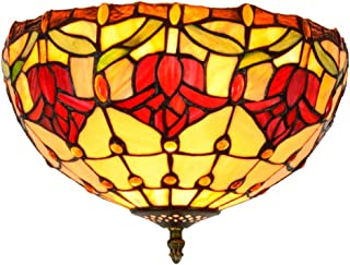 12 Inch Tiffany Style Ceiling Light, European Red Tulip Stained Glass Shade Fixture Pendant Lighting for Dining Room Bedroom