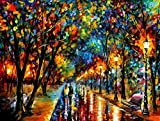 Zimal Diamond Painting Colorful Painting A Couple of Lovers Walking in The Rain DIY Full Diamond Embroidery Scenery 5D Rhinestones Picture Mosaice 11.8 X 15.8 Inch