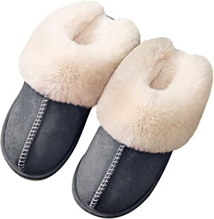 Mens Soft Furry Indoor Outdoor Moccasin Winter Slippers Mules Shoes Size 7-12