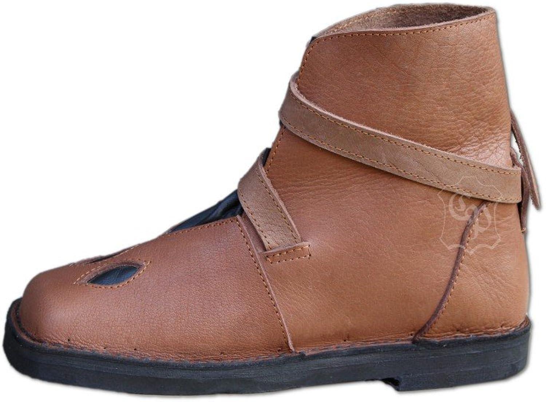 Battle-Merchant Kuhmaul-Stiefel, Dunkelbraun Dunkelbraun Lederstiefel Stiefel Edelmann Mittelalter - LARP - Wikinger Schuhe Größe 37-47  modisch