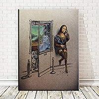 キャンバスペインティング HDプリントアートキャンバスプリントポスターモナリサビールの絵を飲む壁の装飾キャンバスの絵壁の絵フレームなし 50x75cm