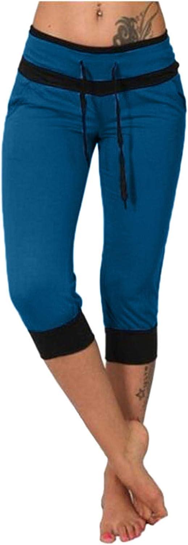 VEKDONE Women Capri Jogger Active Sweatpants Casual Elastic Waist Drawstring Loose Workout Lounge Cropped Pants
