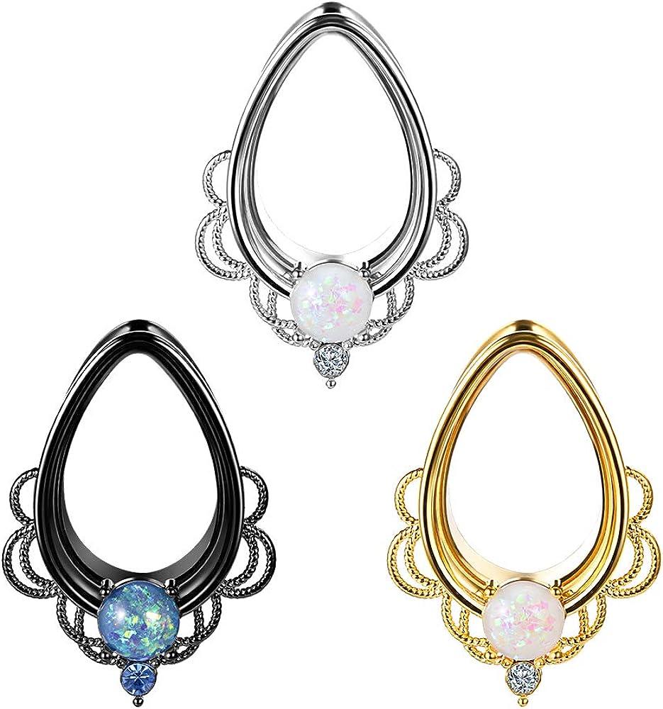 TBOSEN 2PCS Water Drop Elegant Shape Lace Ear Tunnels Dallas Mall Piercing Flesh