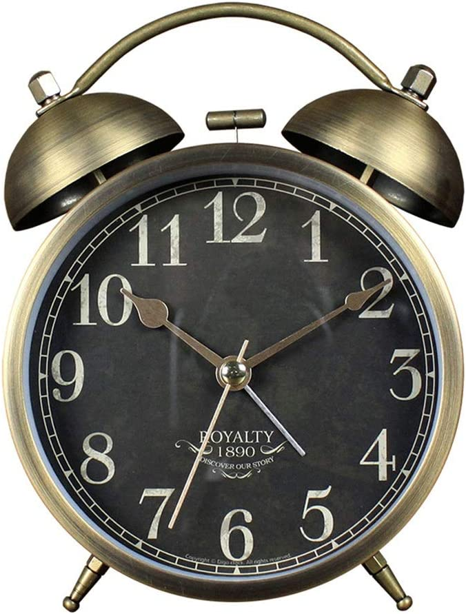 YonCog Decor Table Clock 4.3 Inch 67% OFF Portland Mall of fixed price Alarm Silent Metal Retro Round