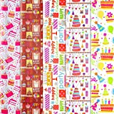 Konsait 5Pack Folded Large Sheets of Birthday Wrapping Paper Traditional Gift Wrap, Birthday Decoration,Birthday Multicolor Colorful Festive Designs- Kids Birthday Cake Balloon Hat,74 X 50cm