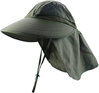 YR.Lover Women Outdoor Fishing Hat with Neck Flap Wide Brim Ponytail Sun Protection Hat