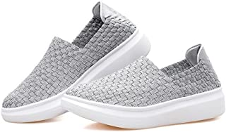 BY0NE Women's Woven Stretch Mesh Loafers Fashion Sneakers Breathable Slip-on Walking Shoes