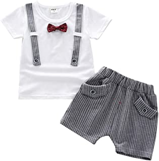Fairy Baby Baby Boys Summer Gentleman Outfit Clothes Tops Tee Shirt+Striped Shorts Pant Set