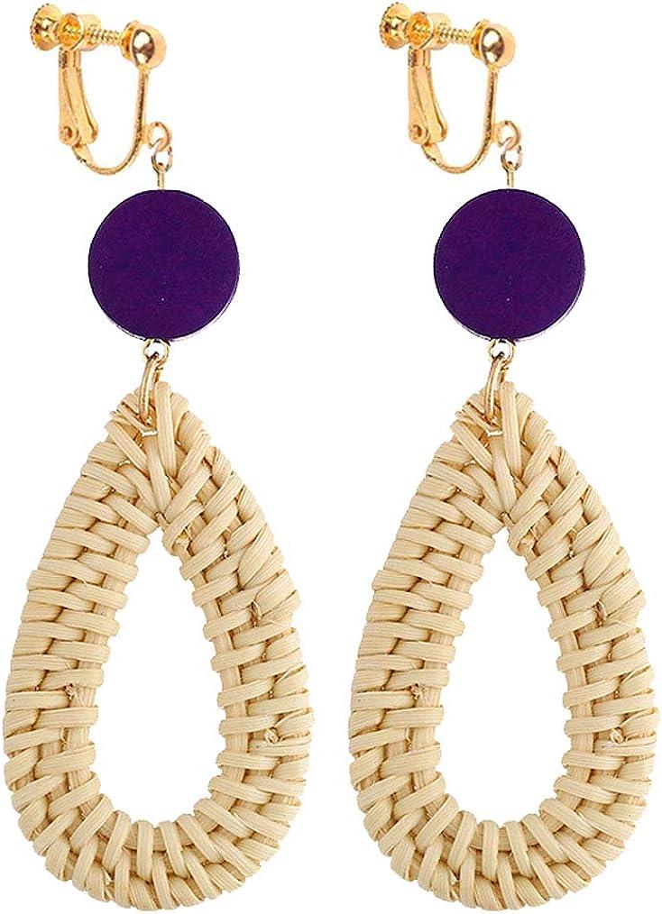 Geometric Rattan Clip on Dangle Earrings Wooden Beaded Water Drop Summer Beach Jewelry for Girls Women