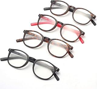 Leesbril met blauw lichtfilter voor dames en heren, modern, rond, groot, computerbril 1,0 ~ 4,0, dioptrie, krasbestendig