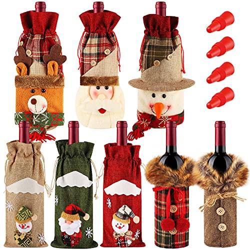 8 Stücke Weihnachten Weinflaschen Abdeckung Kleid Schneemann Rentier Flaschen Mantel Weihnachtsmann Champagner Beutel Handgefertigte Weinflaschen Tasche mit 4 Silikon Flaschen Stopper
