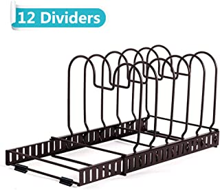 BBLHOME Expandable Lid Holder Pot and Pan Organizer Rack Cookware with 12 Adjustable Dividers for Kitchen Cabinet Pantry(1 PACK)