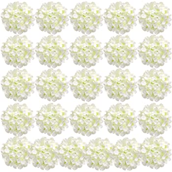 Auihiay 26 Pieces Silk Hydrangea Flowers Artificial Flowers Heads with Stems for Home Wedding Party Decorations (Ivory)