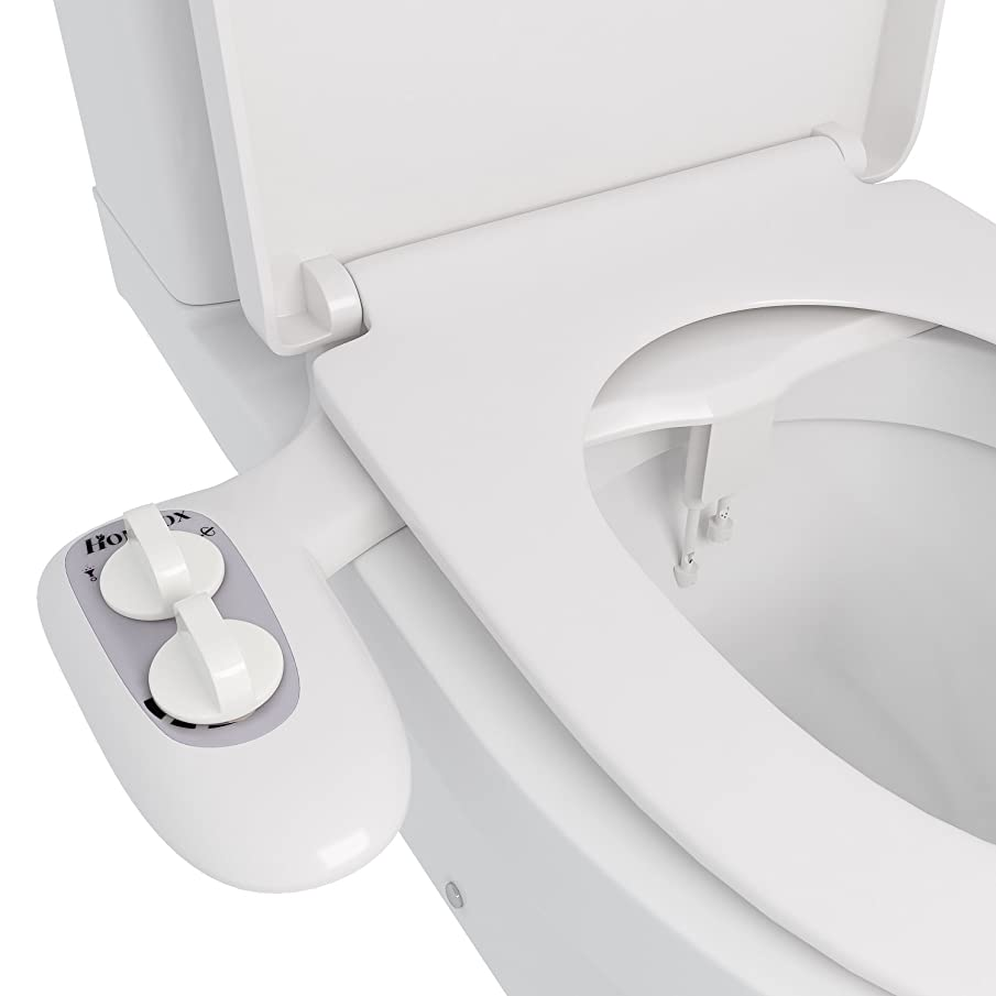 BATHWA Adjustable Bidet Toilet Attachment Self Cleaning Bidet - Dual Nozzle (Male & Female) - Non-Electric Mechanical Bidet - With Adjustable Water Pressure