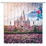 Feierman Pink Castle Shower Curtain Kids Decor Spring Flower Disneyland Bathroom Curtain Decor Set with Hooks 70x70Inches
