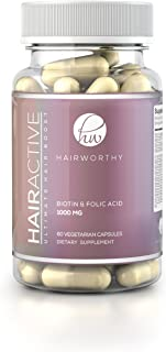 HAIRWORTHY - Fastest Acting Hair Growth Vitamins. 100% Natural Supplement for Longer, Fuller & Thicker Hair. Reduce Hair Loss, Promote Hair Regrowth, with Biotin & Folic Acid. Improves Nails & Skin.