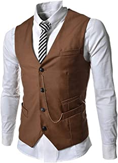 Men's Vest Suit Vest Business Suit Casual Vest Modern Casual Stylish Solemnly Engaged Cut 4 Button Vest Vest with Chain