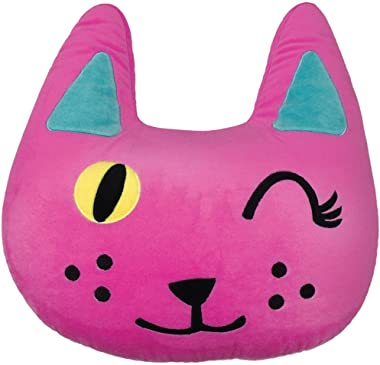 """iscream Pinky Winky Kitty Shaped Embroidered Accent 16"""" x 15.5"""" Fleece Microbead Pillow"""