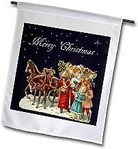 "3dRose fl_170111_2""Santa Claus Delivering Presents in A Horse Drawn Sleigh Garden Flag, 18 x 27"