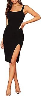 DIDK Damen Kleid Trägerkleid Bodycon Schulterfrei Partykleid Einfarbig Freizeitkleid mit Schlitz