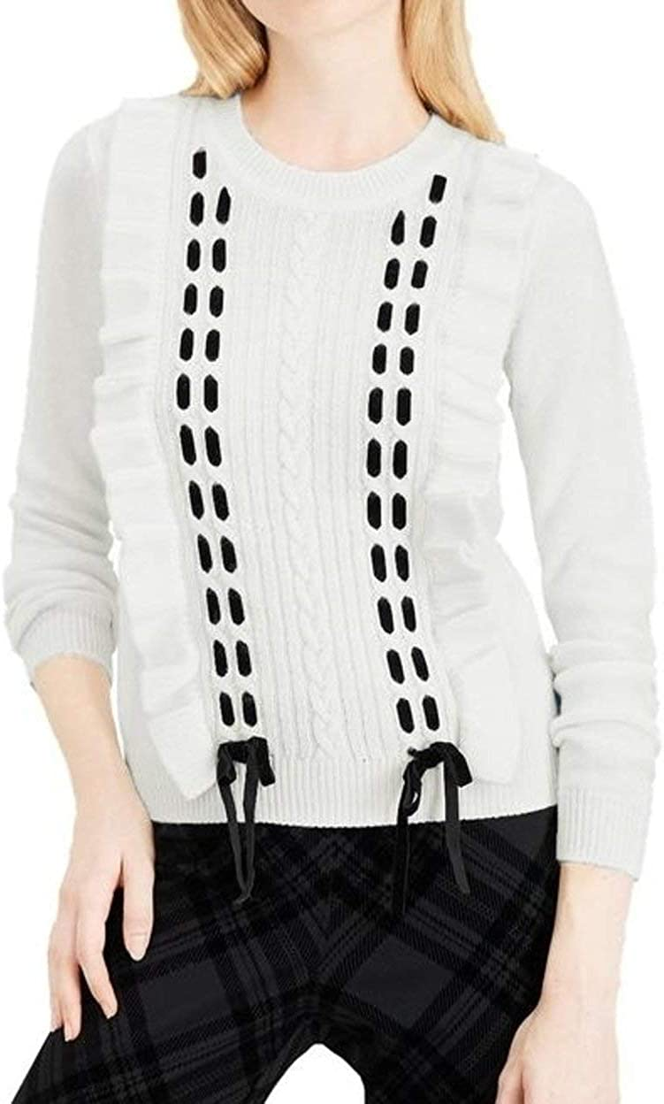 Maison Jules Ruffle-Trim Import Lace-Up Discount mail order Cloud XS Sweater