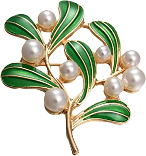 Bullidea Elegant Pin Badge Brooch Pearl Leaves Brooch Pins Clips Corsage Festive Brooch Decoration for Suit Shirt Sweater