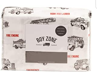 Boy Zone Vintage Fire Engine Trucks Black Red Sheet Set (Twin)