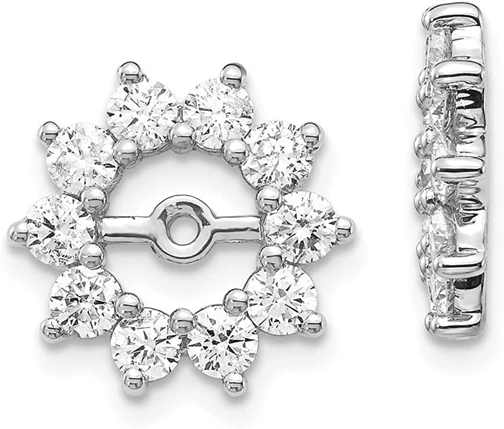 Solid 14k White Gold Unique Diamond Earring Jacket Mountings 13mm