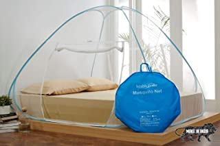 Healthgenie King Size Mosquito Net for Double Bed with Repair Kit (7 * 7 Feet) - Blue