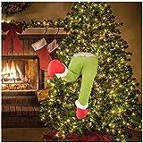 ZMMA Adorno Verde Peludo del Grinch con Brazo y Cabeza, 2021Decoraciones navideñas del Grinch, Decoración Divertida para el árbol de Navidad (Pierna)